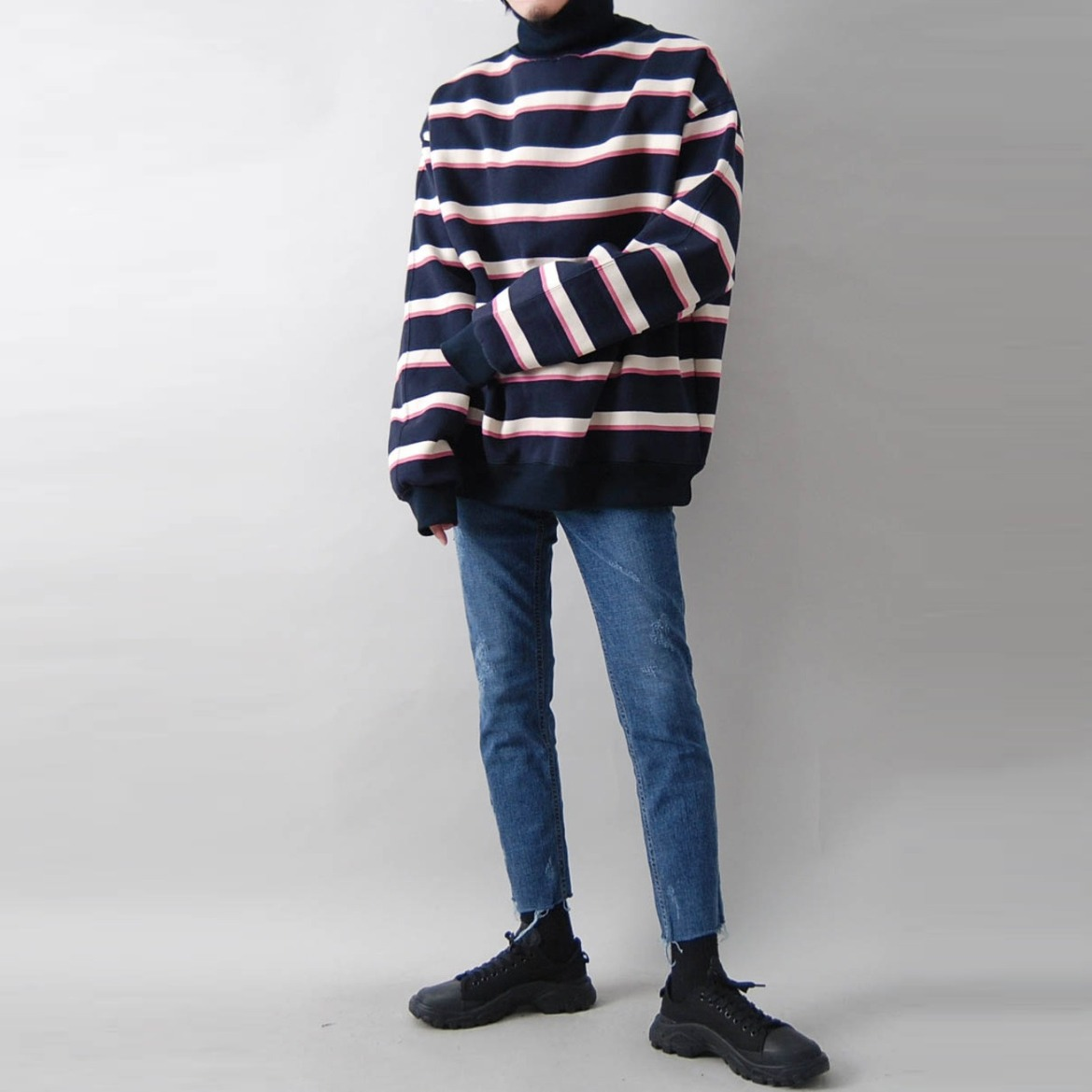 AR 단가라 오버핏 기모 폴라 맨투맨 - STRIPE NAPPING TURTLE NECK (2 COLOR)
